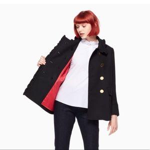 KATE SPADE ruffle bow pea coat size 0 black nwt